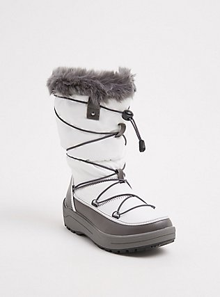 White Nylon & Grey Faux Fur Trimmed Drawstring Cold Weather Boot (Wide Width), WHITE, hi-res
