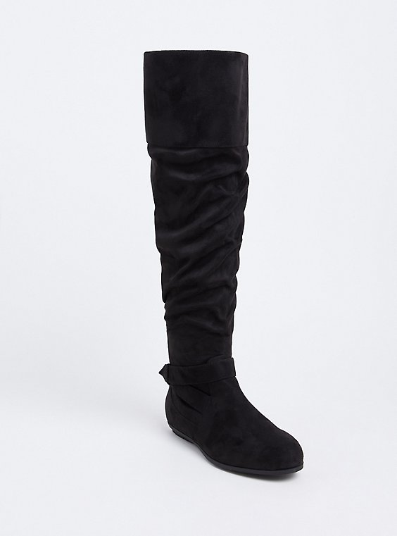 Black Faux Suede Over-The-Knee Scrunch Boot (WW), , hi-res
