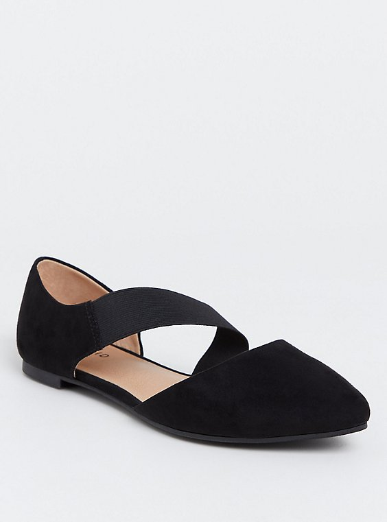Plus Size Black Faux Suede Ankle Strap Flat (WW), , hi-res