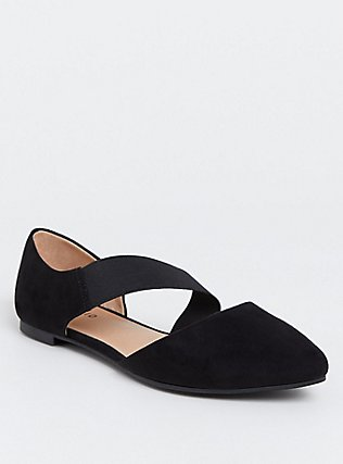 Black Faux Suede Ankle Strap Flat (WW), BLACK, hi-res