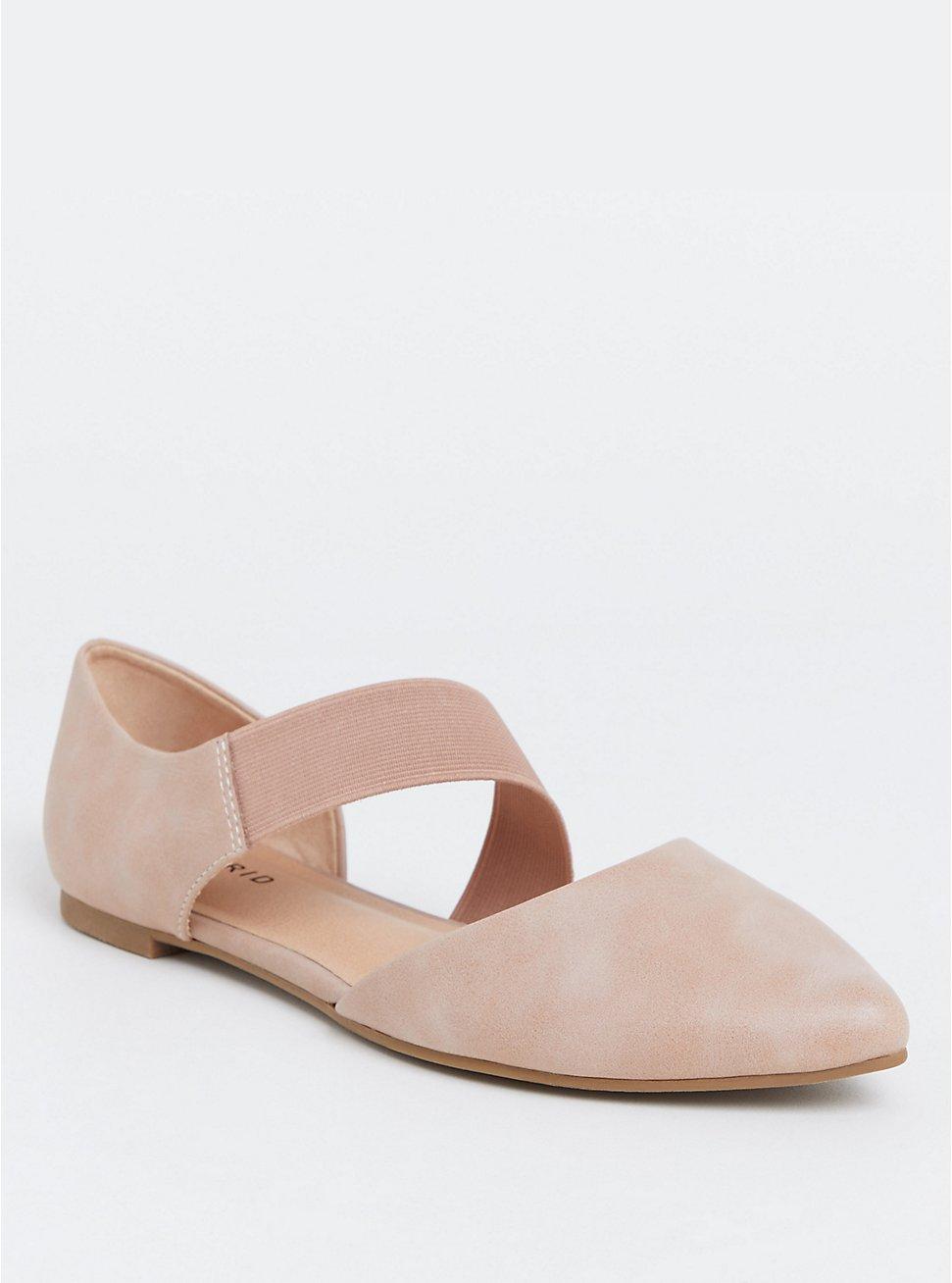 Mauve Pink Faux Suede Stretch Ankle Strap Flat (WW), MAUVE, hi-res