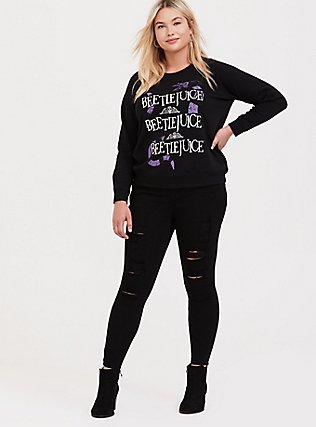 Plus Size Beetlejuice Black Fleece Crew Sweatshirt, DEEP BLACK, alternate