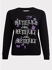 Beetlejuice Black Fleece Crew Sweatshirt, DEEP BLACK, hi-res