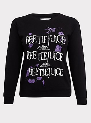 Plus Size Beetlejuice Black Fleece Crew Sweatshirt, DEEP BLACK, flat