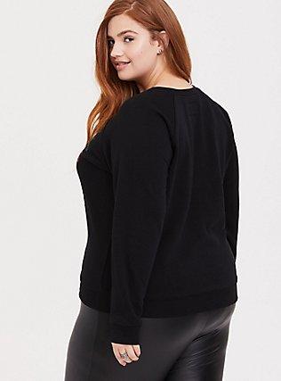 Plus Size Home Alone Black Raglan Holiday Sweatshirt, DEEP BLACK, alternate