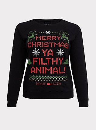 Plus Size Home Alone Black Raglan Holiday Sweatshirt, DEEP BLACK, flat