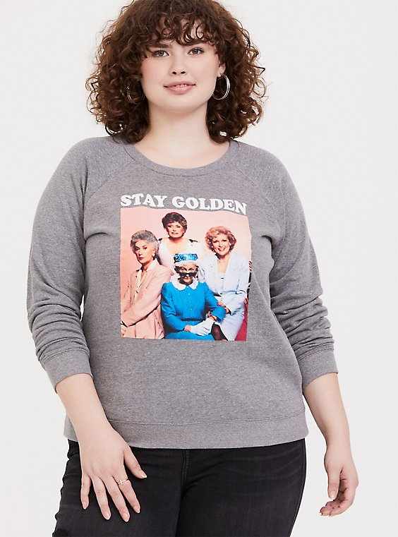 Golden Girls Stay Golden Heathered Grey Raglan Sweatshirt, NINE IRON, hi-res