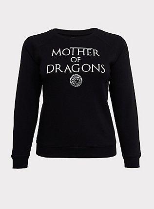 Plus Size Game Of Thrones Mother Of Dragons Black Sweatshirt, DEEP BLACK, flat