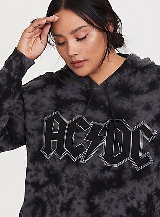 Plus Size AC/DC Black Tie-Dye Crop Hoodie, DEEP BLACK, alternate