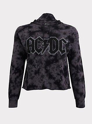 Plus Size AC/DC Black Tie-Dye Crop Hoodie, DEEP BLACK, flat
