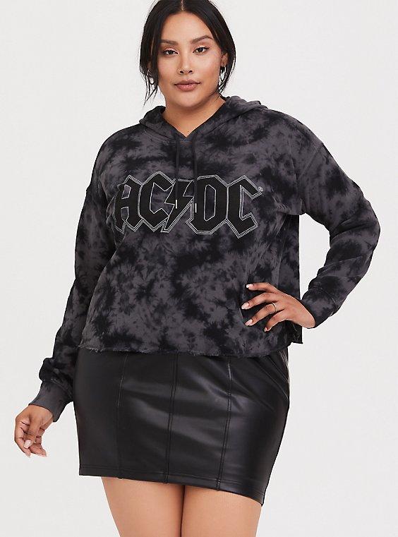Plus Size Black AC/DC Tie-Dye Crop Hoodie, , hi-res