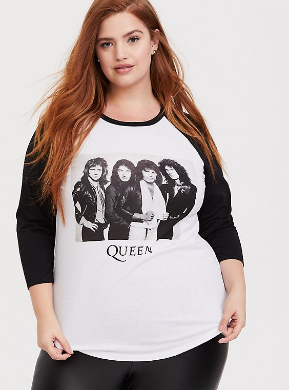 Queen White & Black Raglan Tee, , hi-res