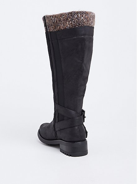 Black Sweater Trimmed Knee-High Slouch Boot (Wide Width & Wide To Extra Wide Calf), BLACK, alternate