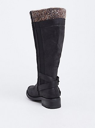 Black Sweater Trimmed Knee-High Slouch Boot (WW & Wide To Extra Wide Calf), BLACK, alternate