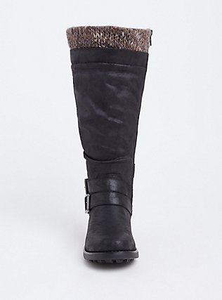 Plus Size Black Sweater Trimmed Knee-High Slouch Boot (WW & Wide To Extra Wide Calf), BLACK, alternate