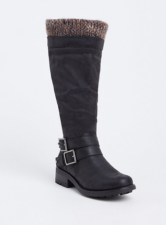 Black Sweater Trimmed Knee-High Slouch Boot (WW & Wide To Extra Wide Calf), BLACK, hi-res