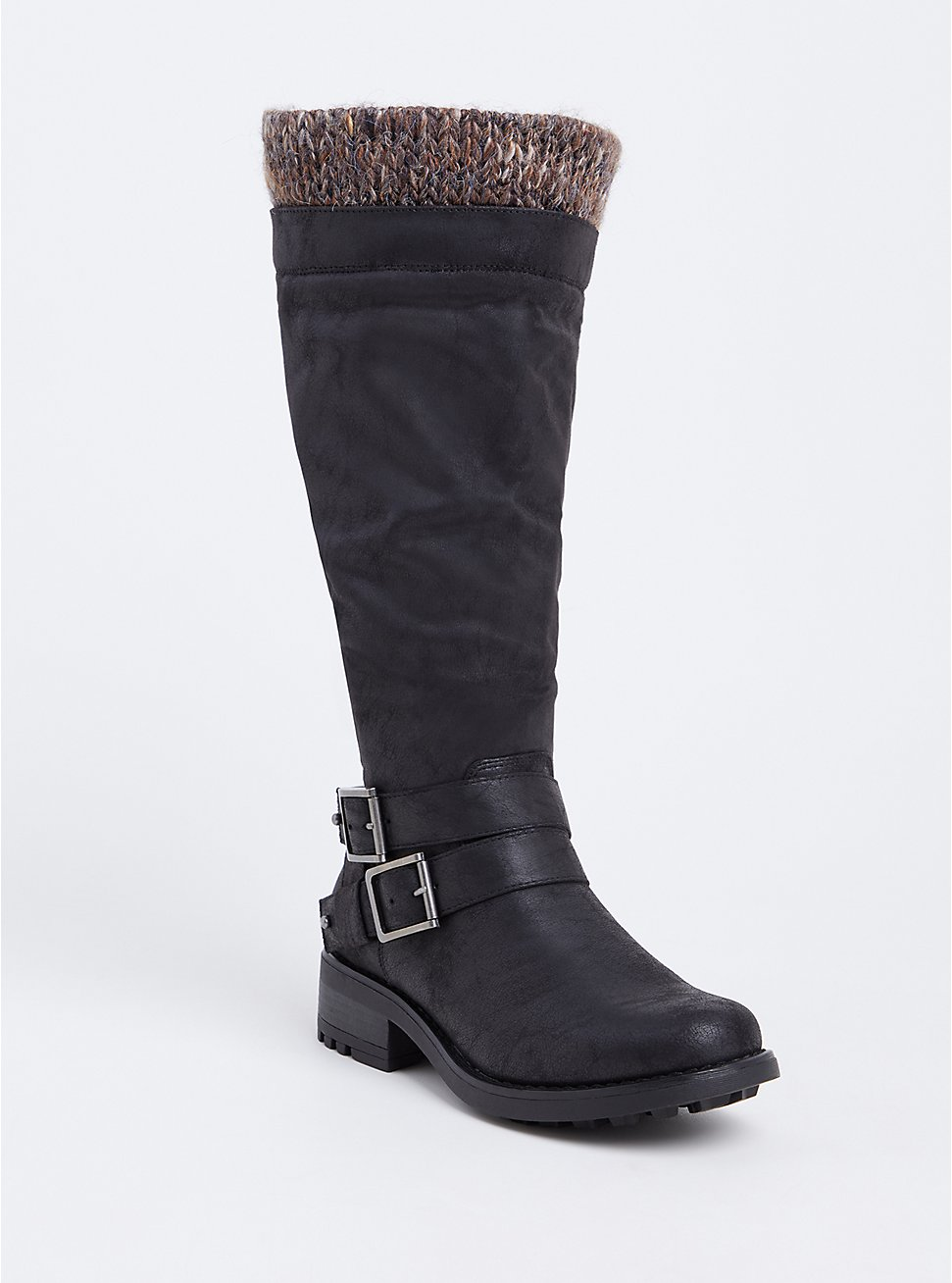 Black Sweater Trimmed Knee-High Slouch Boot (Wide Width & Wide To Extra Wide Calf), BLACK, hi-res