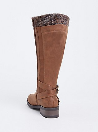 Cognac Brown Brushed Faux Leather Sweater Trimmed Tall Boot (WW & Wide To Extra Wide Calf), BROWN, alternate