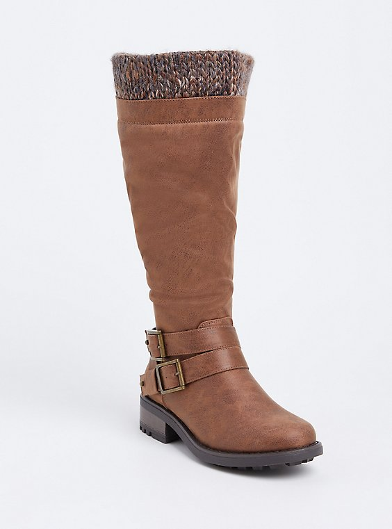 Brown Brushed Faux Leather Sweater Trimmed Tall Boot (Wide Width & Wide to Extra Wide Calf), BROWN, hi-res