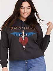 Bon Jovi Charcoal Grey Crop Hoodie, CHARCOAL, hi-res