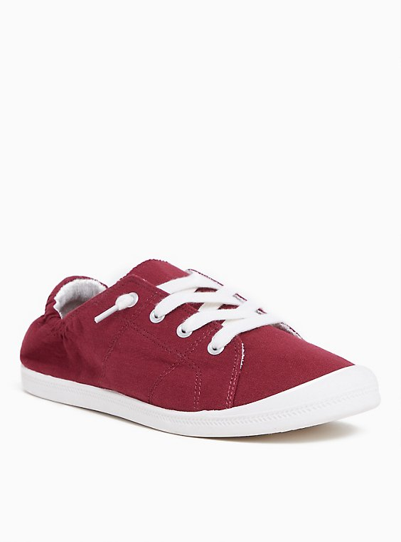 Burgundy Red Canvas Ruched Sneaker (WW), , hi-res