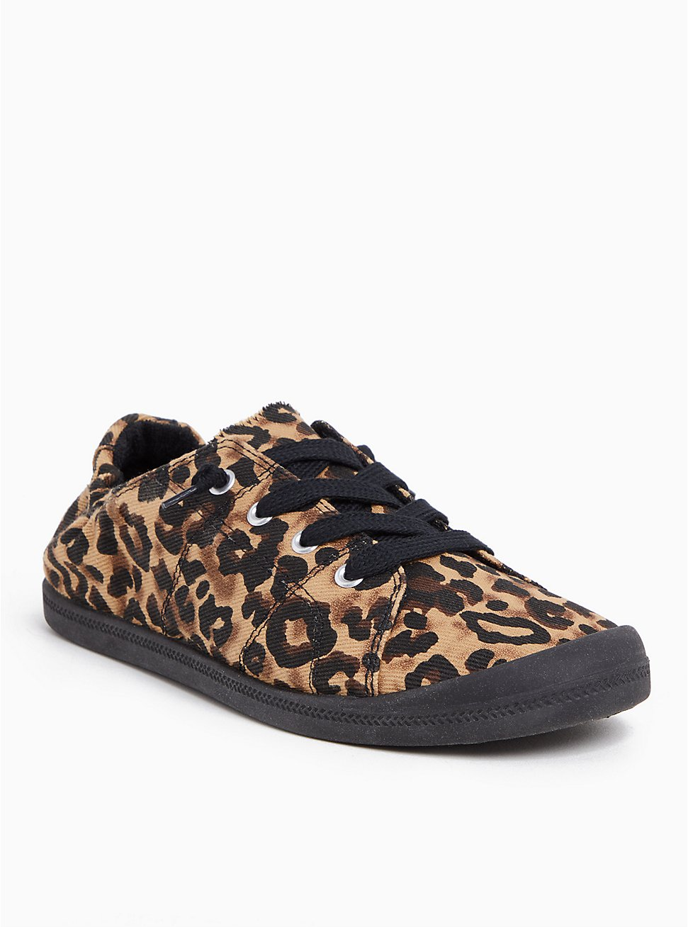 Plus Size Black & Leopard Canvas Ruched Sneaker (WW), ANIMAL, hi-res