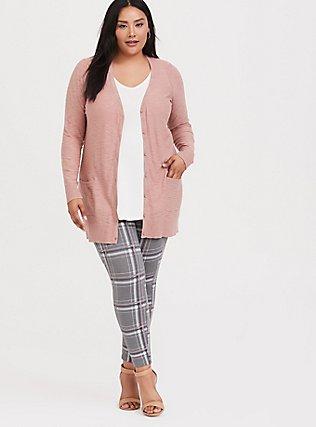 Plus Size Blush Pink Slub Boyfriend Cardigan, , alternate