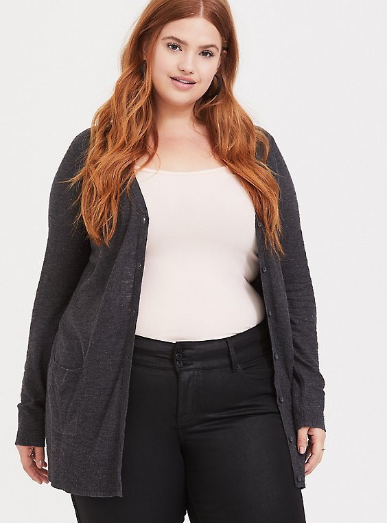 Dark Grey Slub Boyfriend Cardigan, , hi-res