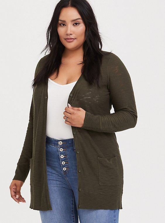 Olive Green Slub Boyfriend Pocket Cardigan, , hi-res