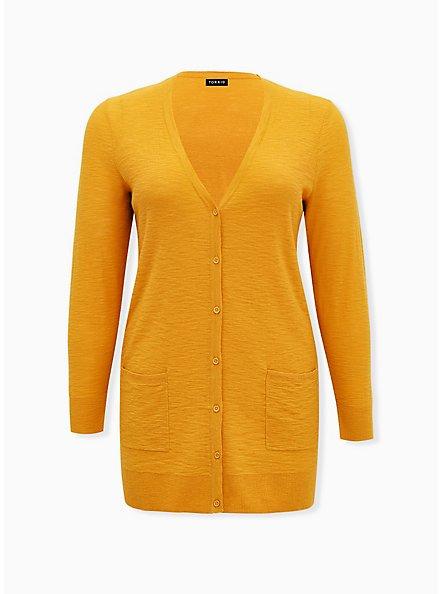 Mustard Yellow Slub Boyfriend Cardigan, MINERAL YELLOW, hi-res