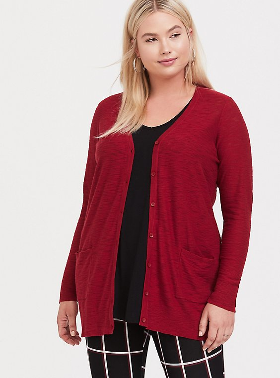 Dark Red Slub Boyfriend Pocket Cardigan, , hi-res