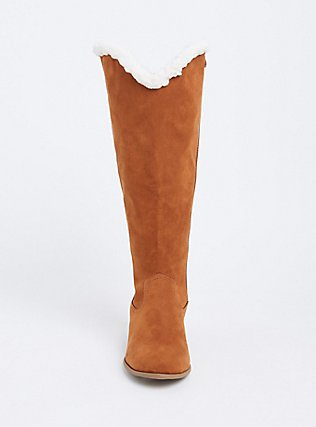 Plush Brown Faux Suede Shearling Knee-High Boot (WW), TAN/BEIGE, alternate