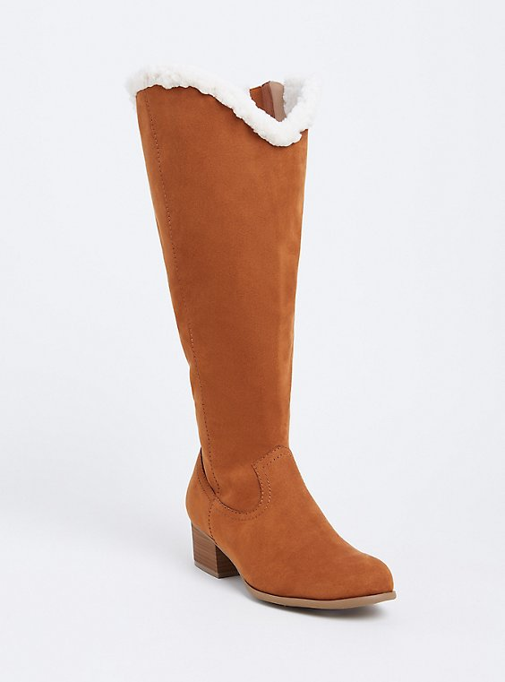 Plus Size Plush Brown Faux Suede Shearling Knee-High Boot (WW), , hi-res