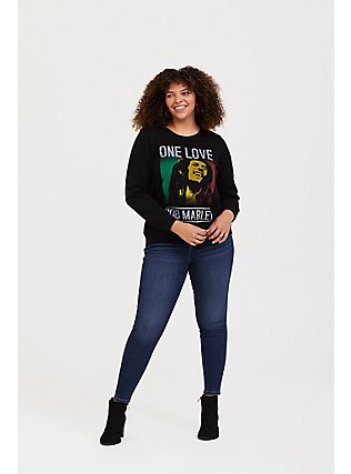 Plus Size Bob Marley One Love Black Pullover Sweatshirt, DEEP BLACK, alternate