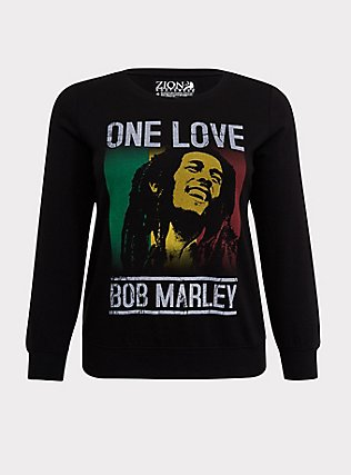 Plus Size Bob Marley One Love Black Pullover Sweatshirt, DEEP BLACK, flat