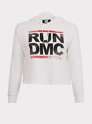 Run-DMC White Crop Hoodie, CLOUD DANCER, flat