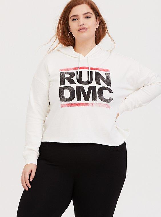 Plus Size Run-DMC White Crop Hoodie, , hi-res