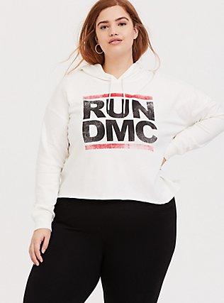 Run-DMC White Crop Hoodie, CLOUD DANCER, hi-res