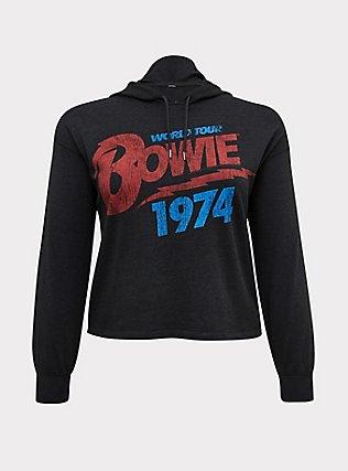 Plus Size David Bowie World Tour Black Burnout Crop Hoodie, DEEP BLACK, flat