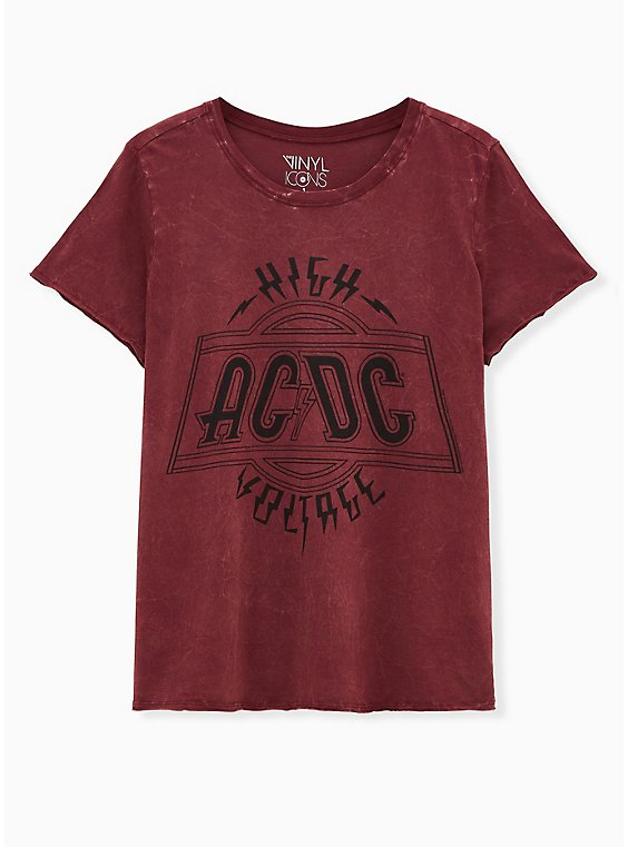 AC/DC Burgundy Purple Mineral Wash Crew Tee, BURGUNDY, hi-res