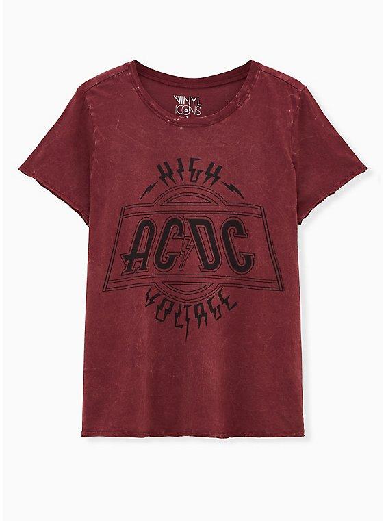 AC/DC Burgundy Purple Mineral Wash Crew Tee, , hi-res