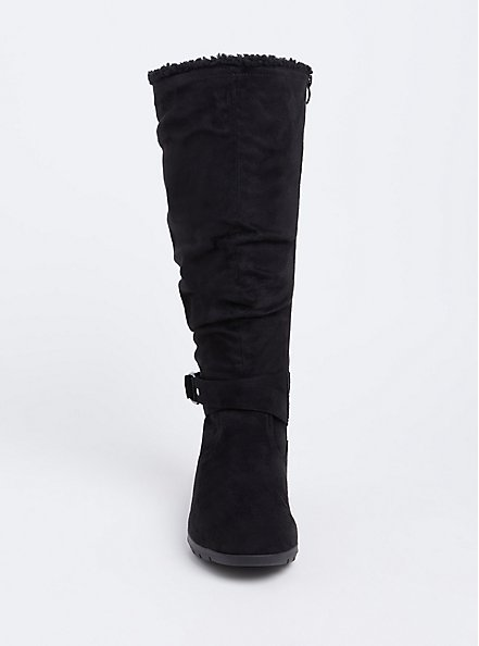 Black Faux Suede Fleece Buckle Tall Boot (WW) , BLACK, alternate
