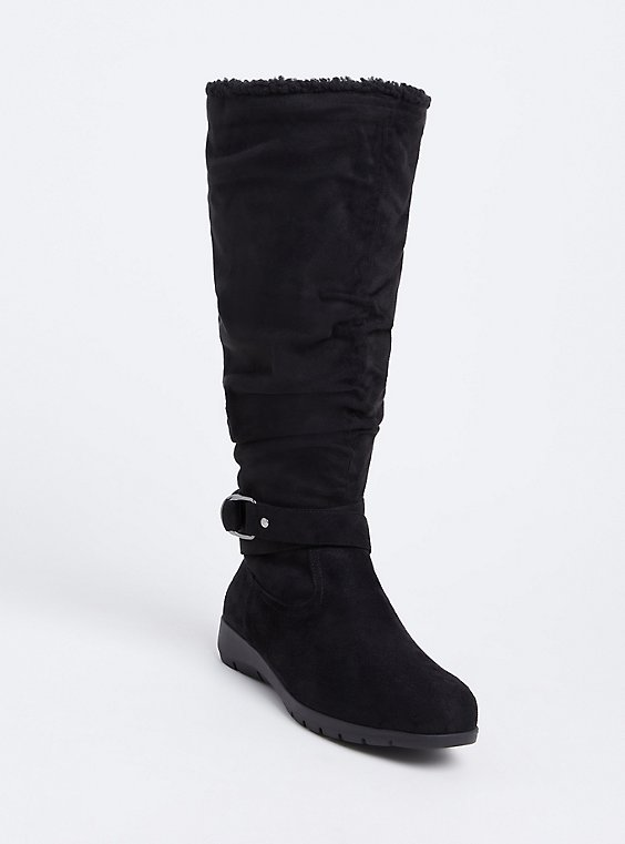 Black Faux Suede Fleece Buckle Tall Boot (Wide Width) , , hi-res
