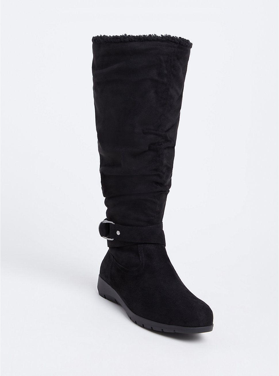 Black Faux Suede Fleece Buckle Tall Boot (WW) , BLACK, hi-res