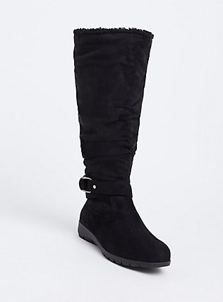Black Faux Suede Fleece Buckle Tall Boot (Wide Width) , BLACK, hi-res