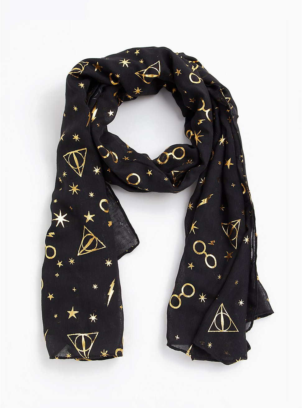 Harry Potter Symbol Gold Foil & Black Scarf, , hi-res
