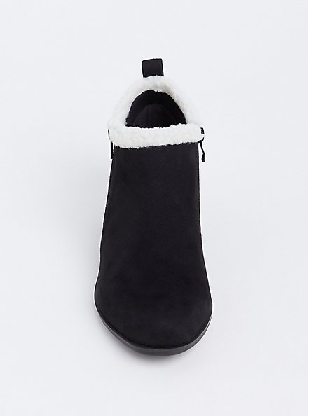 Black Faux Suede & Faux Shearling Ankle Bootie (Wide Width), BLACK, alternate