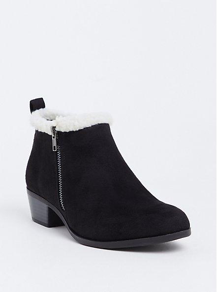 Black Faux Suede & Faux Shearling Ankle Bootie (Wide Width), BLACK, hi-res