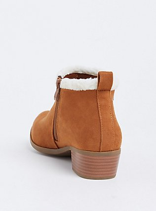 Cognac Faux Suede & Faux Shearling Ankle Boot (WW), COGNAC, alternate