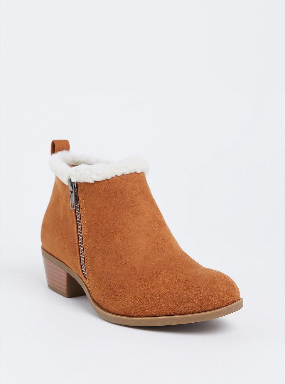 Plus Size Cognac Faux Suede & Faux Shearling Ankle Boot (WW), COGNAC, hi-res